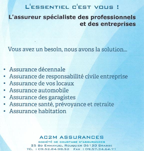 Ac2m assurances grasse spécialiste decennale responsabilite civile auto prevoyance sante habitation